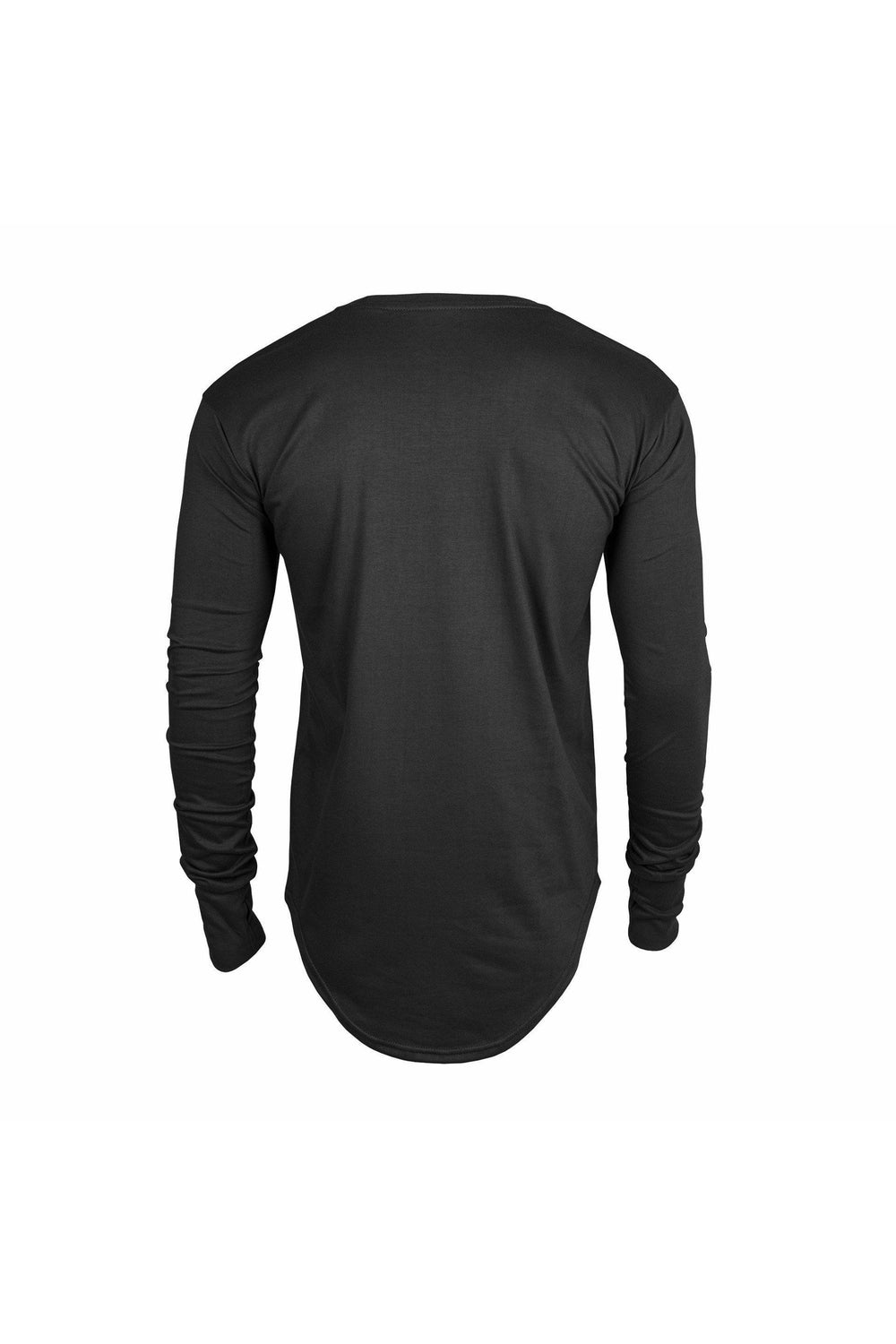T-Shirts - YOLC. Longline Curved Hem T-Shirt Long Sleeve Black