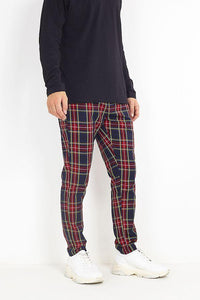 TROUSERS - Skinny Tartan Trousers Red