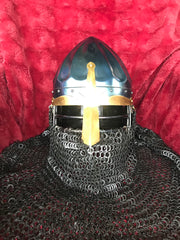 Helmet - Norman Viking / Fluted / Mild with Aventail / 14ga