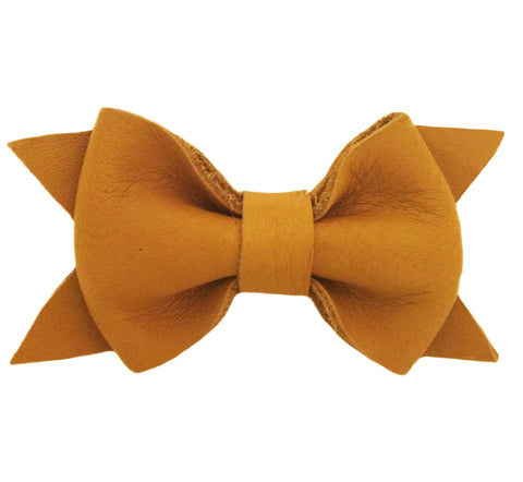 Mustard Leather Bow