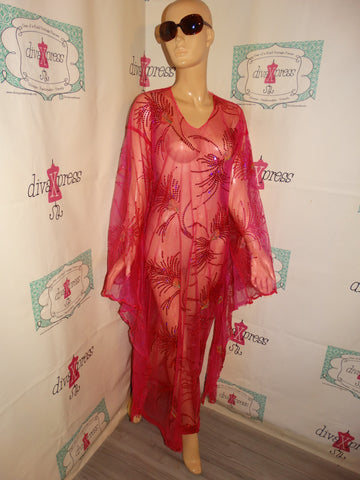 Vintage Pink Sheer Long Drape Sleeve Dress Size L