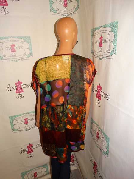 Vintage Maggie Shepherd Colorful Sheer Throw Size 1x