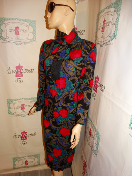 Vintage Joseph Bruno Black Floral Dress Size 2x