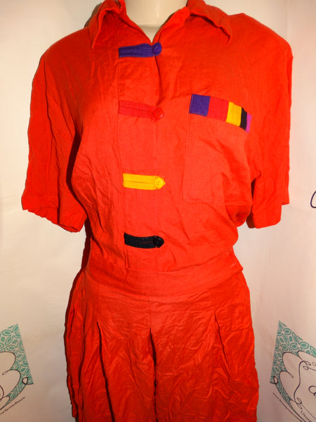 Vintage Rhythms Orange Colorful 2 Piece Short Set Size M