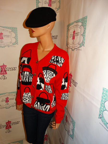 Vintage MCX Red Black/White PUrse Cardigan Size XL