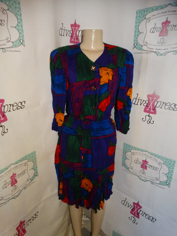 Vintage Swai Petites Colorful 2 Piece Skirt Set Size L