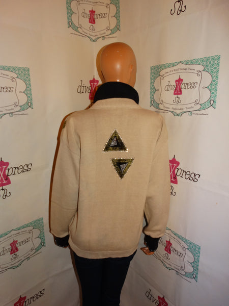 Vintage Mardel Cream/Black Beaded Sweater Size L