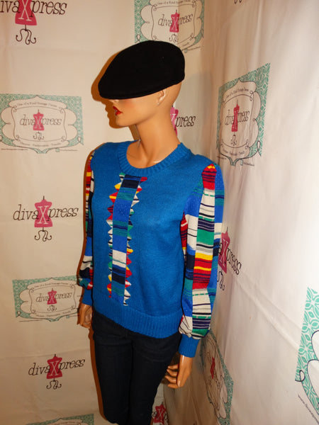 Vintage Leslie Fay Blue Colorful Blouse Size S