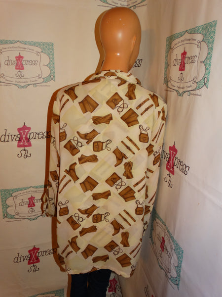 Vintage Lonnie Cream Brown Blouse Size L