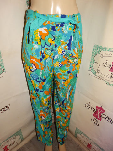 Vintage Teal Colorful Floral PAnts Size L