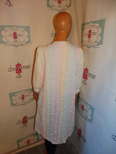 Vintage Lorriane Pink/Green White Dress Size M