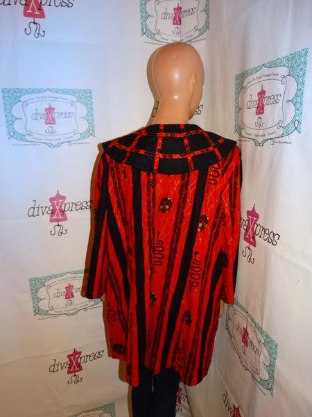 Vintage The African Village Red/Black African Style Top Size 2x