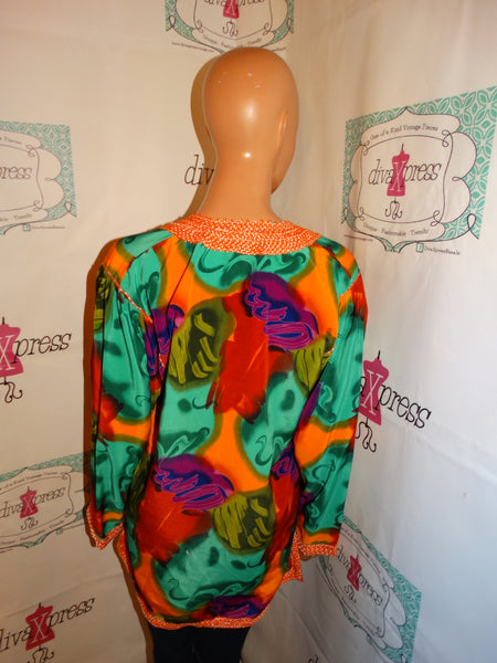 Vintage Orange Colorful Blouse Size M