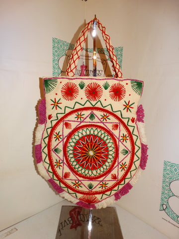 Vintage Tan Colorful  Indian Style Tote Size M
