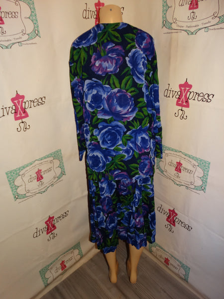 Vintage Paul Harris Purple Floral 2 Piece Skirt Set Size XL