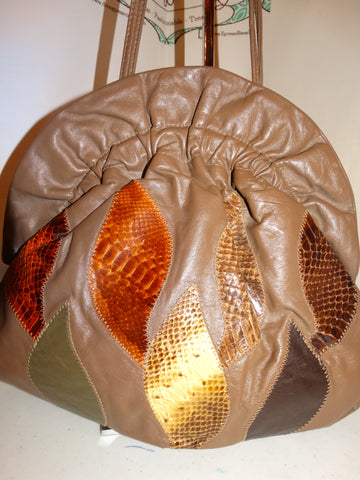 Vintage Leather Snake Skin Patch Purse Size L