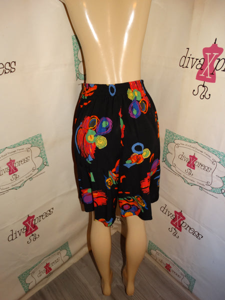 Vintage Johanna Black Colorful Shorts Size S-M