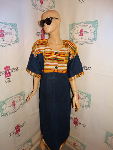 Vintage Jean African Style Dress Size 1x