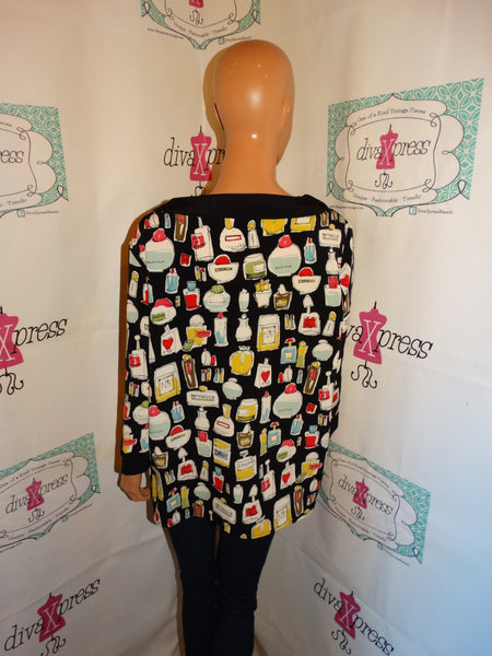 Vintage Maggie Sweet Black PErfume Bottle Blouse Size XL