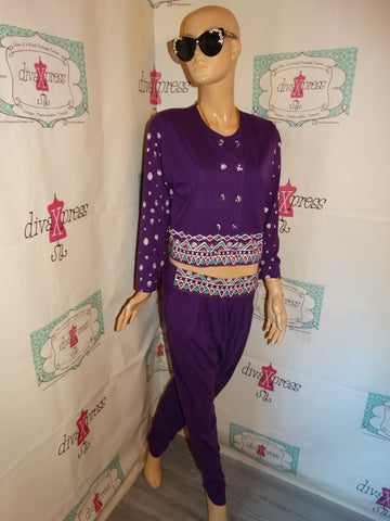 Vintage La Belle Folette Purple/White 2 Piece Pants Set Size M