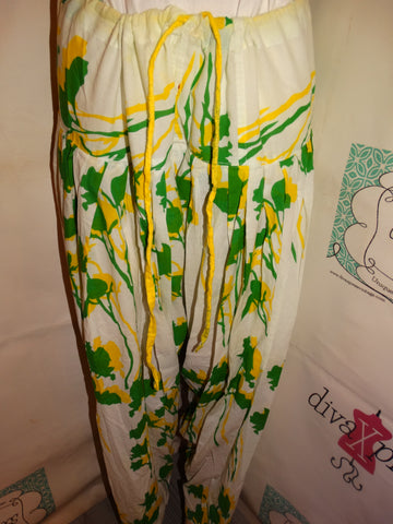 Vintage White Green/Yellow Pants Size XL