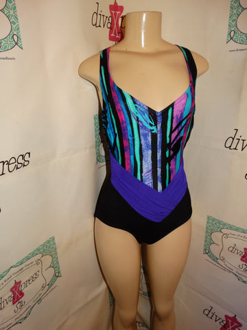 Vintage The Slim Suit Black Cololful Swimsuit Size M