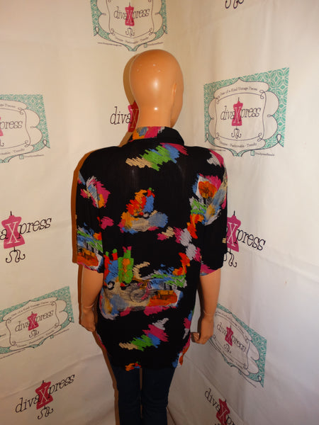 Vintage Pete Popovitch Black Colorful Top Size L