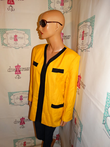 Vintage Suitables yellow/Black Blazer Top Size 1x