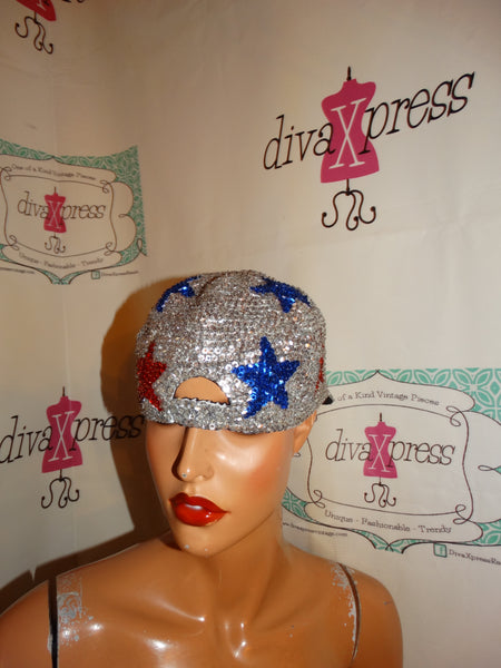 Vintage Siliver Blue.REd Cap