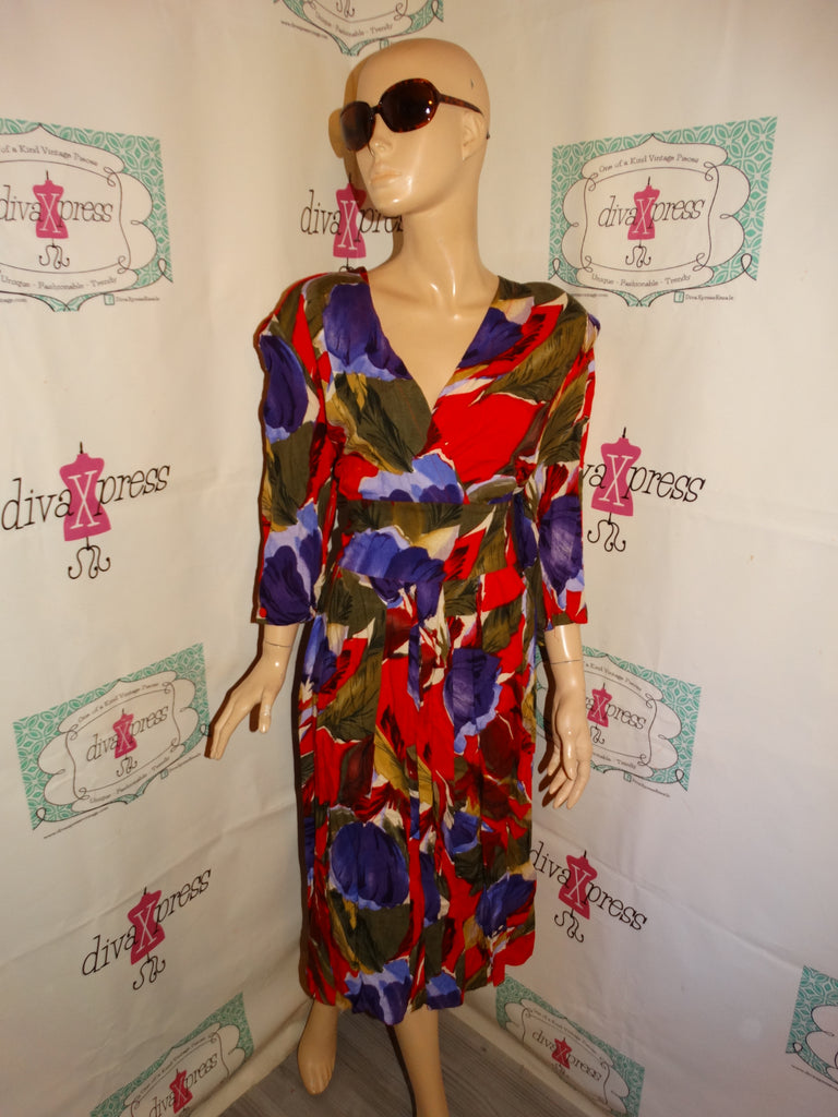 Vintage VLP Red Floral Dress Size L
