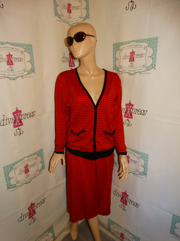 Vintage Liz Claiborne Red/Black 2 Piece Skirt Set Size M