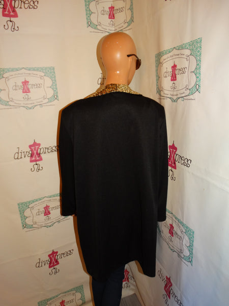 Vintage Sue Breet Black Gold Sequins Long Blazer Size 1x