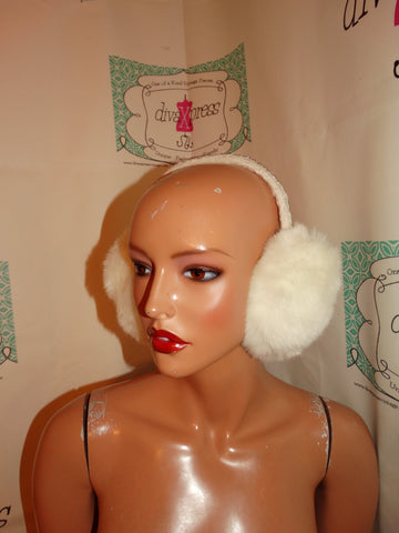 Vintage White Faux Fur Ear Muffs