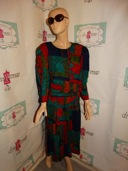 Vintage Lisa II Blue Green Colorful Dress Size 1x