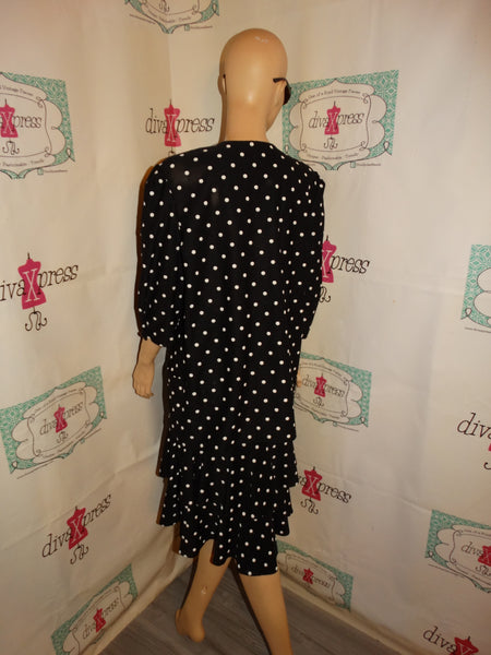 Vintage Tina Barbie Black/White Polka Dot 2 Piece Skirt Set Size XL