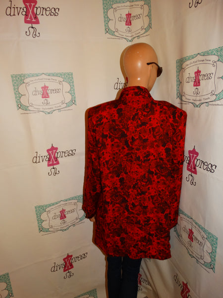 Vintage Max MAx REd/Black Beaded Blazer Size 1x