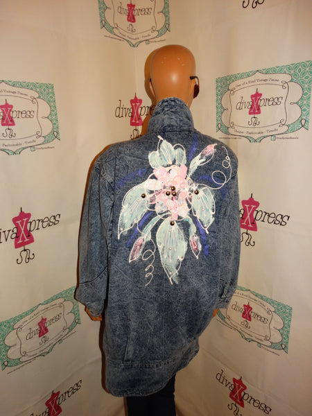 Vintage Jean Acid Wash Beaded Jacket Size 1x