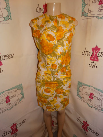 Vintage Yellow Cream Floral 2 Piece Skirt Set Size S