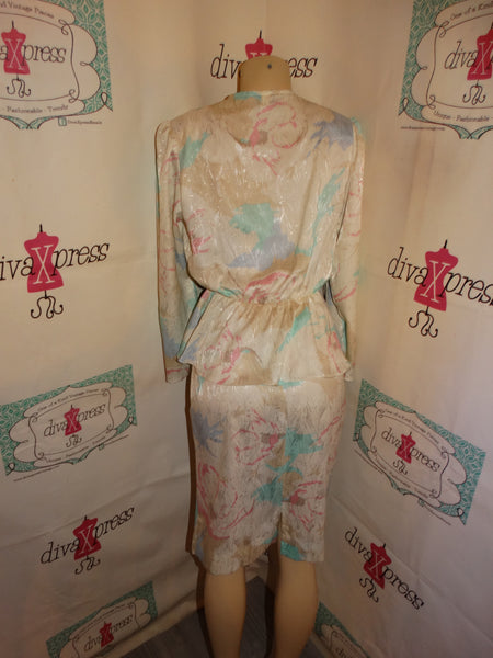 Vintage Ms. Classic White /Teal 2 Piece Peplum Size M