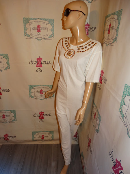 Vintage Risky White Beaded Romper Size XL