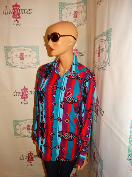 Vintage Wrangler Coloful Blouse Size L
