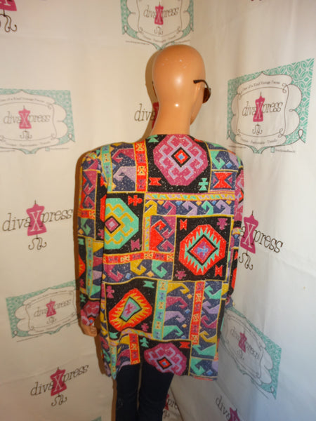 Vintage T And F Colorful Throw Size L