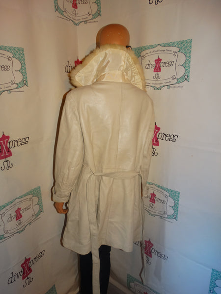 Vintage White Cream Leather Fur Collar Coat Size S