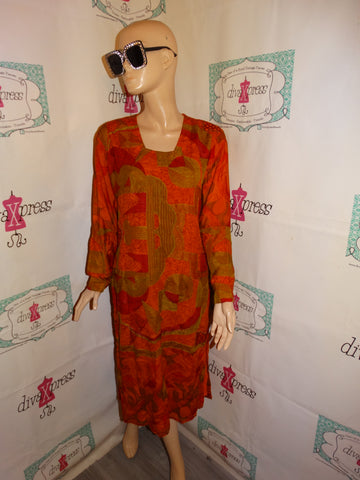Vintage Orange/Gold Dress Size M