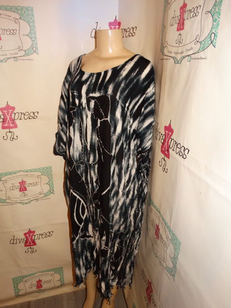 Vintage The African Scene Black/White Dress Size 3x