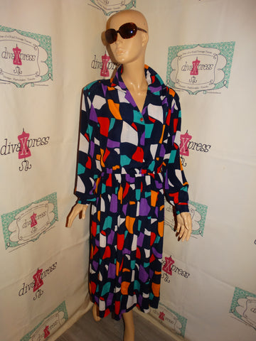 Vintage Just For You Blue Colorful Dress Size XL