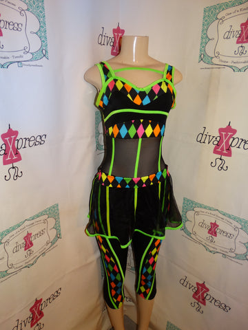 Vintage Neon Colorful Black Body Suit Size S