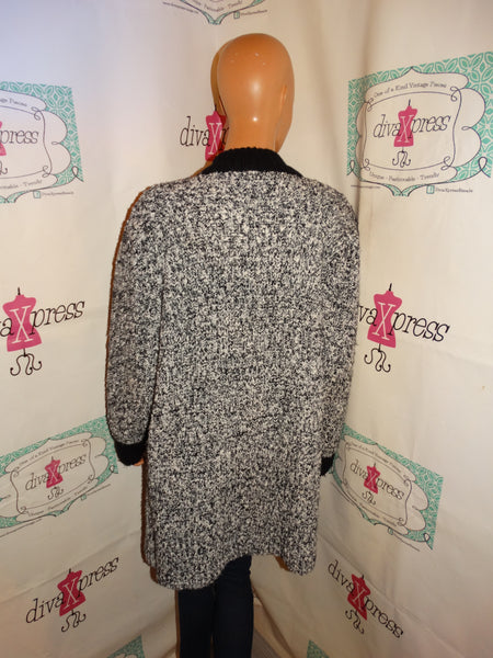 Vintage Monto  Le Chois Black/White Sweater Jacket Size L