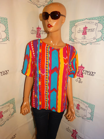 Vintage Rafella Colorful Blouse Size L