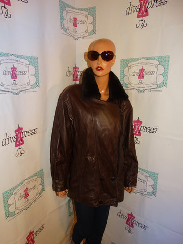 Vintage IZZI Brown Leather Faux Fur Coat Size XL